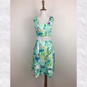 Calvin Klein Floral Watercolor Belted A-Line Dress